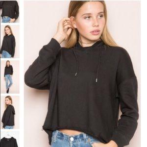 Brandy Melville cropped black hoodie